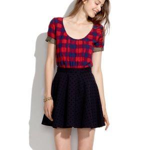 Madewell Velvetdot Skater Skirt Size 6 Black
